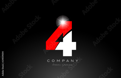red white color number 4 for logo icon design