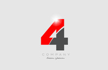 Number 4 In Grey Red Color For Logo Icon Design