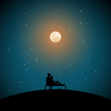 Lovers Sitting On Bench On Moonlit Night. Vector Illustration With Silhouette Of Loving Couple In Park. Full Moon In Starry Sky