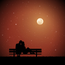 Lovers Sitting On Bench On Moonlit Night. Vector Illustration With Silhouette Of Loving Couple In Park. Northern Lights In Starry Sky. Full Moon In Starry Sky.