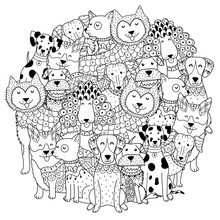 Funny Dogs Circle Shape Patter...