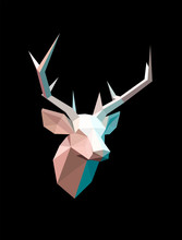Abstract Geometric Deer Head O...