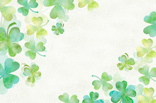 Art Green Clover Watercolor Ba...