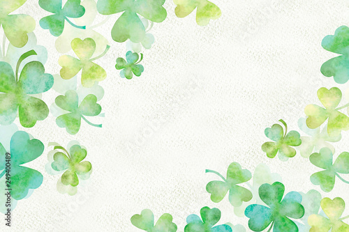 Photo Art green clover watercolor background