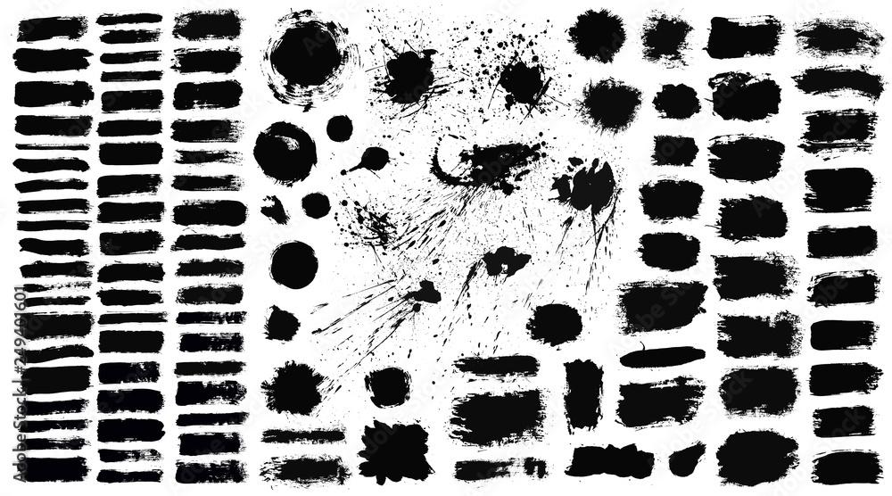 Fototapeta Brush strokes set vector painted isolated objects