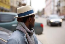Street Portrait Of African American Man In Hat