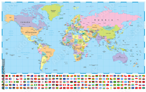 Photo  World Map and Flags - borders, countries and cities -illustration