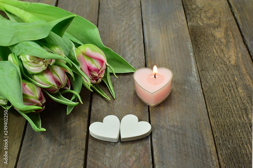 romantic tulips, 2 hearts and a candle