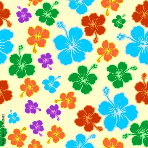 Photo sur Aluminium Draw Hibiscus Exotic Colorful Seamless Pattern Vector Graphic Art
