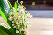 Bouquet of flowers beautiful smell lily of the valley or may-lily under soft sunlight on rustic old vintage wooden background. Garden in spring or summer. Blooming ecology nature concept