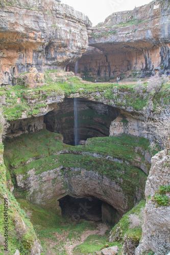 Fototapeten Forest river Balou Balaa waterfall (Baatara Gorge Waterfall), Tannourine, Lebanon, Middle East