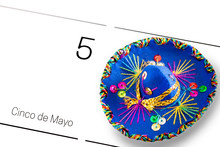 Save The Date White Calendar For Cinco De Mayo, May 5th With Blue Sombrero Decorated With Colorful Sequins And Golden. Cinco De Mayo Concept
