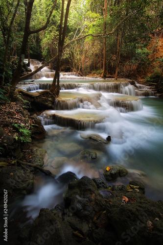A beautiful view of Huay Mae khamin waterfall at Kanchanaburi province in Thailand Canvas