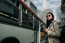 Happy Woman Tourist Standing O...