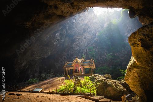 Marron chocolat Amazing Phraya Nakhon cave in Khao Sam Roi Yot national park at Prachuap Khiri Khan Thailand is small temple in the sun rays in cave.