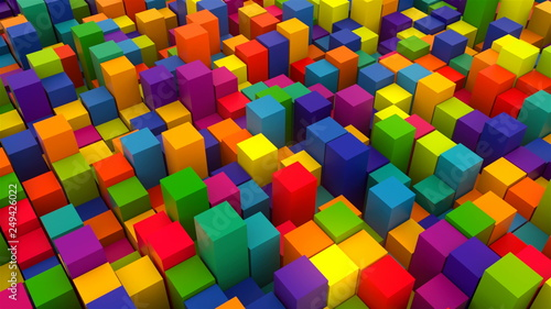3d rendering background with many rows of bright colorful cubes, computer generated backdrop