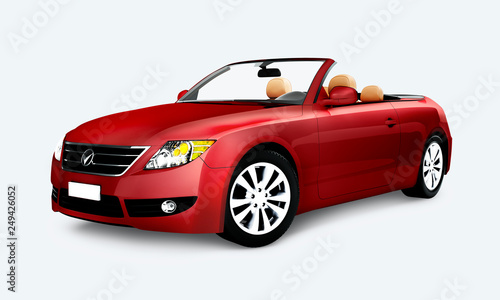 Red convertible car - 249426052