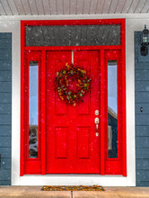 Festive Front Door On A Snowy Day In Daybreak Utah