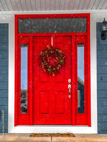 Festive front door on a snowy day in Daybreak Utah Canvas Print