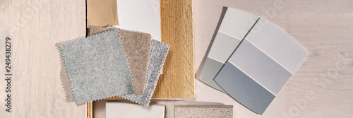 Fényképezés Home interior designer remodel color swatches samples top view panoramic banner background