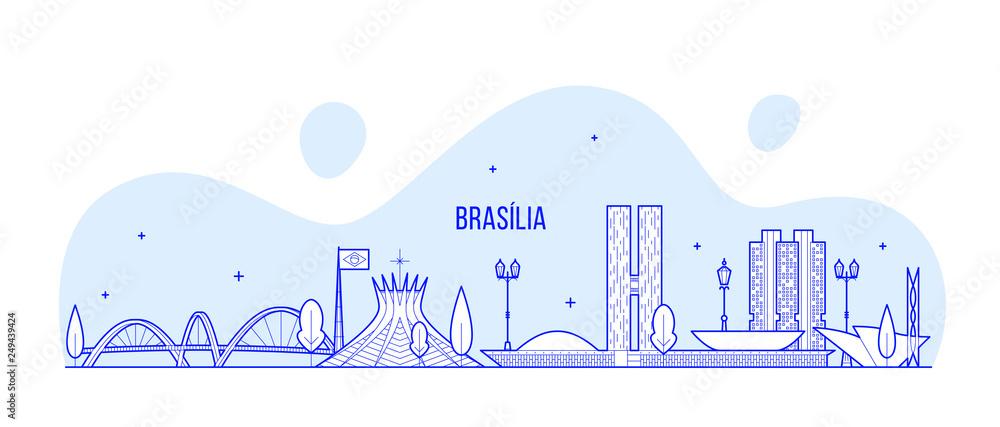 Brasilia panoramę Brazylia miasto budynków wektor linii <span>plik: #249439424 | autor: Alexandr Bakanov</span>