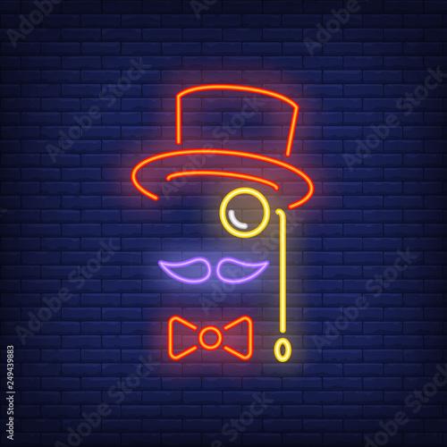 Fotografie, Obraz Hat, moustache, bow tie and monocle neon sign