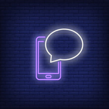 Smart Phone And Speech Bubble Neon Sign