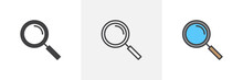 Magnifying Glass Icon. Line, G...