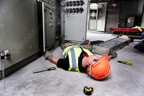 Accident at work of electrician people or Maintenance worker in the control room of factory Canvas Print