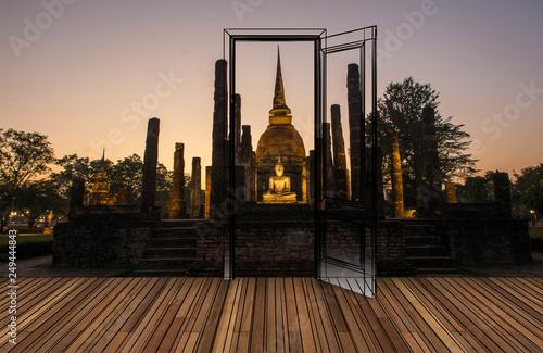 Obraz na plátně Landscape behind the opening door