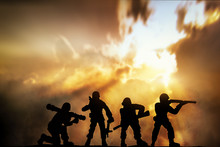 Silhouette Of Infantry On Sky Background With Double Exposure American Flag. Veterans Day Concept