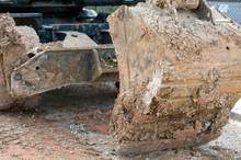 Excavator Is Working Into Mud....