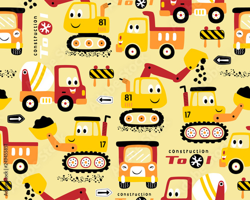 Seamless pattern vector with funny construction vehicles Tableau sur Toile