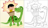 Fototapeta Dinusie - Vector cartoon of ancient human with bone udgel on dinosaur, coloring book or page