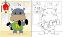 Vector Of Hippo Cartoon Liftin...