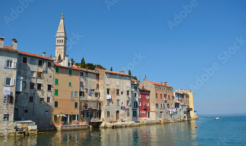 Rovinj old town  peninsular  with the Church of St Canvas Print