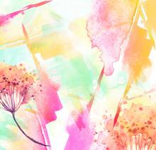 Watercolor Bouquet Of Flowers,...