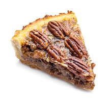 Piece Of Tasty Pecan Pie On White Background