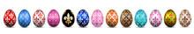 Easter Egg 3D Icon. Color Eggs Set, Isolated White Background. Flower Fleur De Lis Design, Decoration Happy Easter Celebration. Royal Lily Element. Holiday Pattern. Spring Symbol. Vector Illustration
