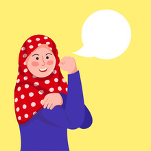Hijab Girl Poses We Can Do It, Inspired By Rosie The Riveter With Blank Baloon Text Vector Cartoon Illustration