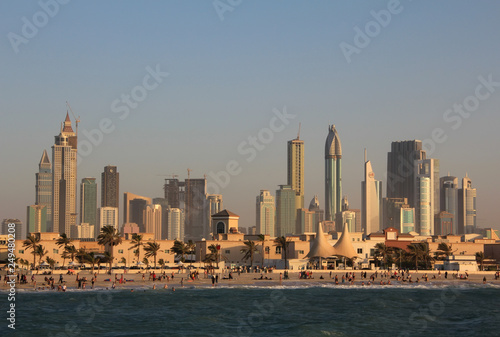 Recess Fitting Dubai Dubai downtown and people on the beach in United Arab Emirates