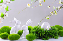Ceramic Easter Rabbits And Egg