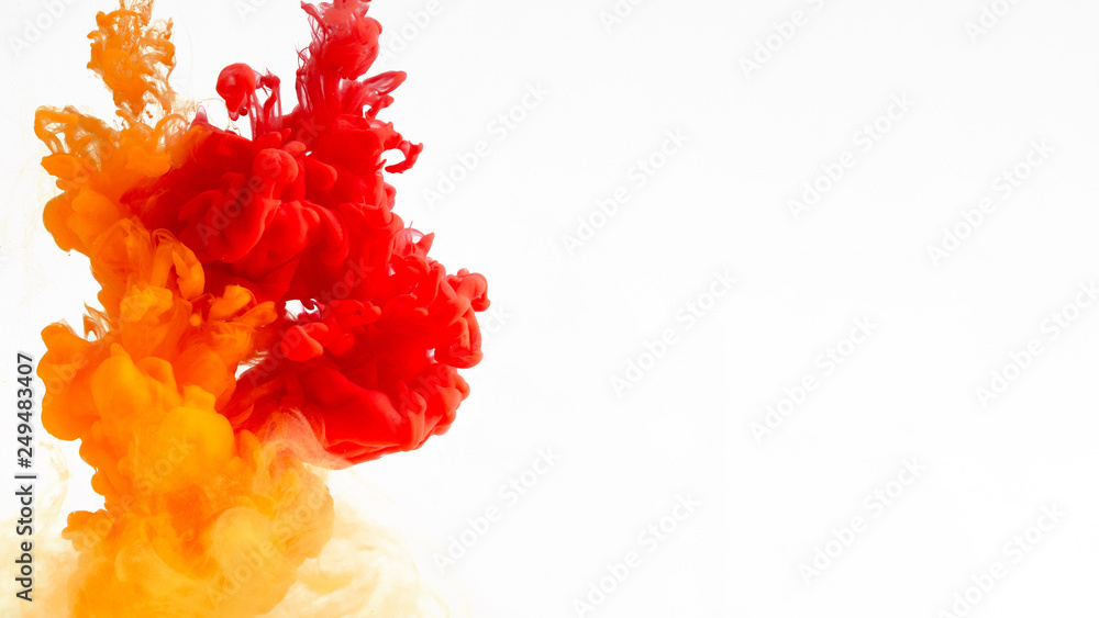 Fototapeta Colored ink in water creating abstract shape, isolated on white background