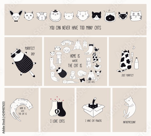 Garden Poster Illustrations Set of cards with cute monochrome doodles of different cats with funny quotes for cat lovers. Hand drawn vector illustration. Line drawing. Design concept for poster, t-shirt, fashion print.