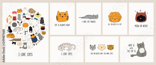 Photo Stands Illustrations Set of cards with cute color doodles of different cats with funny quotes for cat lovers. Hand drawn vector illustration. Line drawing. Design concept for poster, t-shirt, fashion print.