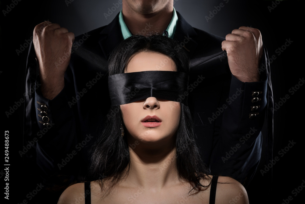 Fototapety, obrazy: Couple Love Kiss, Sexy Blindfolded Woman and elegant Man in Suit