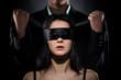 Leinwandbild Motiv Couple Love Kiss, Sexy Blindfolded Woman and elegant Man in Suit