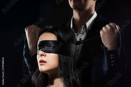 Couple Love Kiss, Sexy Blindfolded Woman and elegant Man in Suit Wallpaper Mural