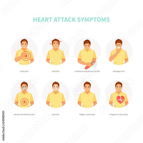 Fotografía Heart attack symptoms vector