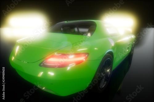 Fototapety, obrazy: luxury sport car in dark studio with bright lights